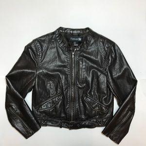 Forever 21 cropped leather  biker jacket